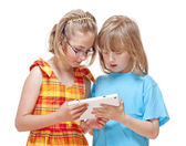 Two Children Having Fun with Digital Tablet  — Stok fotoğraf