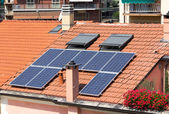 Solar panels on roof — Stock Photo