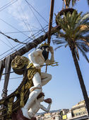 Figurehead of Neptune galleon — Stock Photo