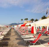 Rangées de parasols et de chaises — Photo