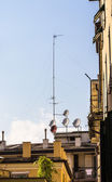 Satellite dishes on roof — Stock Photo