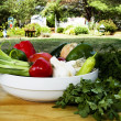 Bowl of Vegetables by Garden — Stock Photo