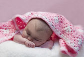 Baby with Crochet Blanket — Stock Photo