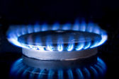 Fire on Gas Top Stove — Stock Photo