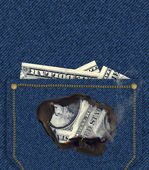Money Burning Hole in Pocket (Illustration) — Stock Photo