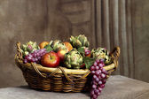Fruits in Basket Still Life — Stock Photo