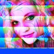 VIVID COLORFUL ABSTRACT PORTRAIT FEMALE — Stock Photo