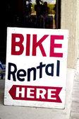 Bike Rental Sign — Stock Photo