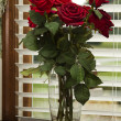 Stock Photo: Red Silk Roses Closeup