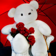 Large white Teddy Bear and Red Roses — Stock Photo