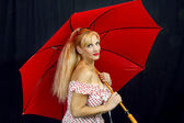 Feminine Woman with Red Umbrella — Stock Photo