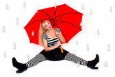 Girl with Red Umbrella and Faux Raindrops — Stock Photo