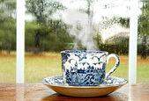 Cup of Coffee - Rainy Day — Stock Photo