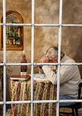 Senior Male Praying (Window View) — Stock Photo