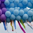 Stock Photo: Balloons with developing colorful ribbons