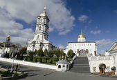 Trinity cathedral and bell tower in Pochaev Lavra — Stock Photo