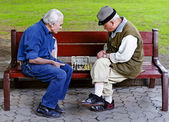 Older play chess on a bench — Stock Photo