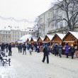 Christmas and New Year bazaar in the center of Lvov - Stock Photo