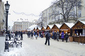 Christmas and New Year bazaar in the center of Lvov — Stock Photo