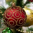 New Year background - beautiful toys on a Christmas tree - two C — Stock Photo