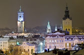 Beautiful winter cityscape in the center of Lvov city — Stock Photo