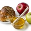 Round challah, apples and a bowl of honey — Stock Photo #19681203