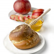 Still life - challah, apples, pomegranate and bowl of honey — Stock Photo #19681343