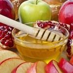 Still life closeup - challah, apples, pomegranate and bowl of ho — Stock Photo #19681579