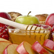 Still life closeup - challah, apples, pomegranate and bowl of ho — Stock Photo