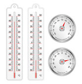 Set of thermometers and barometer in vector — Stock Vector