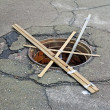 Manhole without a cover — Stockfoto