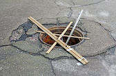 Manhole without a cover — Stock Photo