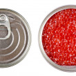 Stock Photo: Red caviar in metal tin isolated over white