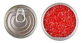 Red caviar in metal tin isolated over white — Stok fotoğraf