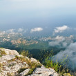 Yalta City view from the heights of Mount Ai-Petri - Stock Photo