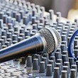 Microphone on the sound mixer - Stock Photo