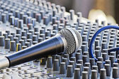 Microphone on the sound mixer — Stock Photo