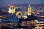 Historic center of Lvov city at night close up — Stock Photo