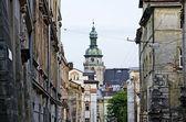 Urban landscape - the old city Lvov — Stock Photo