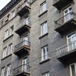 Facade with balconies of old apartment building in Lvov — Stock Photo #25884005
