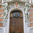 Main entrance to the house scientists in Lvov — Stock Photo