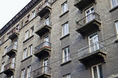 Facade with balconies of old apartment building in Lvov — Stock Photo