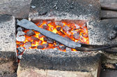 Coals in the forge — Stock Photo