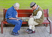 Older people play chess on a bench — Stock Photo