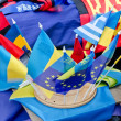Ukrainian flag and European Union flags — Stock Photo