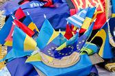 Ukrainian flag and European Union flags — Stock Photo