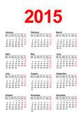 Calendario europeo 2015 — Vector de stock