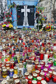 Candles in honor of those killed in the Maidan — Foto de Stock