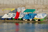 Pedalos on the beach — Stock Photo