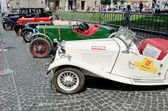 Retro cars in a row on display outdoors in Lvov — Stock Photo